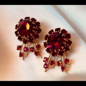 Mid Century Garnet Ruby Crystal Earrings comfort